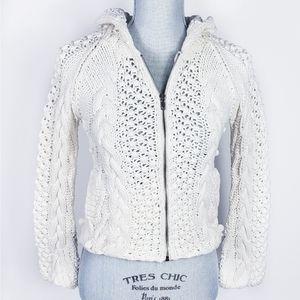 Moda International Chunky Knit Hooded Cardigan  XS